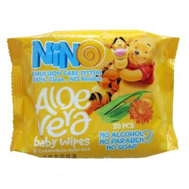 دستمال مرطوب کودک نرم کننده و پاک کننده نینو 20 عددی