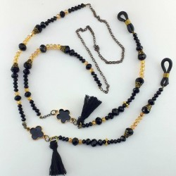 بند عینک دست ساز الی موند کد 107 مشکی طلایی