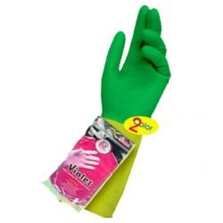 یک جفت دستکش خانگی ساق کوتاه دو رنگ سایز متوسط M ویولت