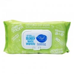 دستمال مرطوب کودک مناسب پوست های حساس حاوی کالاندولا دافی 50 عددی سبز