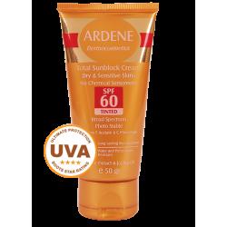 كرم ضد آفتاب فاقد جاذب هاي شيميايي SPF60 رنگي آردن