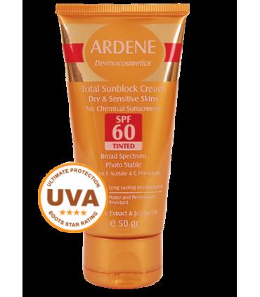 کرم ضد آفتاب SPF60 فاقد جاذب های شیمیایی رنگی آردن