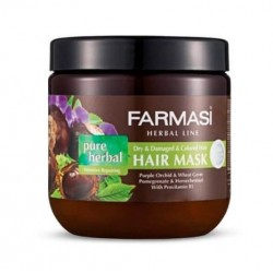 ماسک مو گیاهی مدل Pure Herbal مناسب موهای خشک آسیب دیده و رنگ شده فارماسی 500 میل