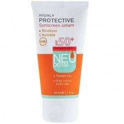 کرم ضد آفتاب SPF50 فاقد رنگ مناسب پوست نرمال تا خشک نئودرم 50 میل
