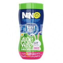 دستمال مرطوب کودک فاقد پارابن و صابون مدل کارتونی نینو 70 عددی